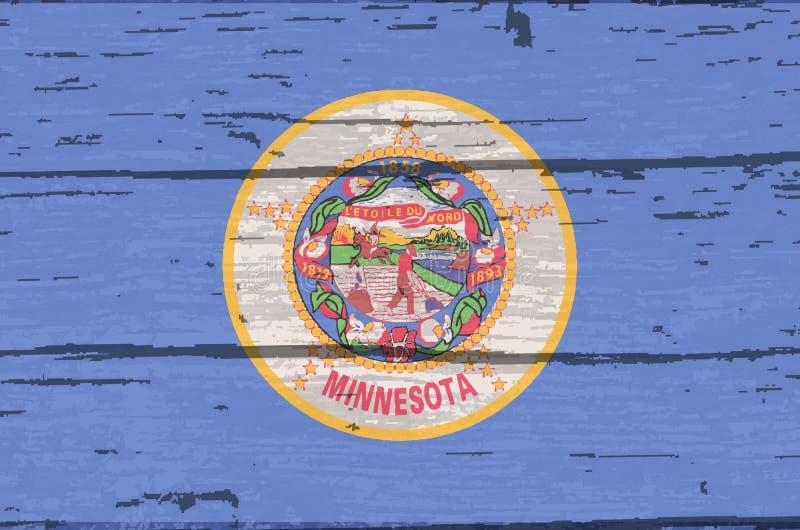 Bandiera dello stato del Minnesota su vecchio legname illustrazione di stock