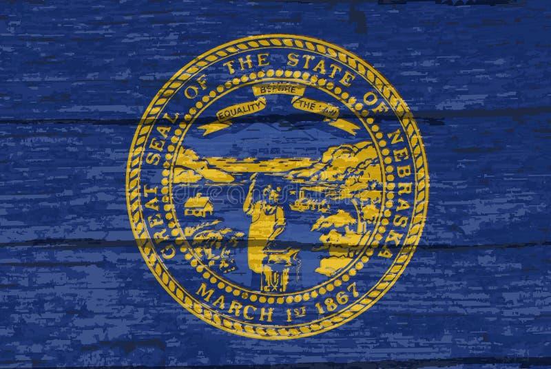 Bandiera dello stato del Nebraska su vecchio legname royalty illustrazione gratis