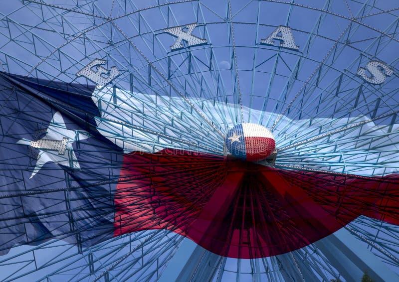 Bandiera dello stato del Texas e della ruota panoramica fotografia stock