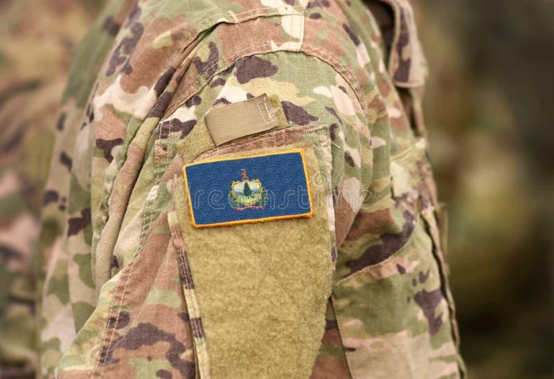 Bandiera dello Stato del Vermont sull'uniforme militare Stati Uniti USA, esercito, soldati Collage fotografia stock libera da diritti
