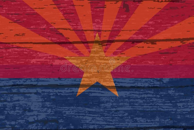 Bandiera dello stato dell'Arizona su vecchio legname illustrazione vettoriale