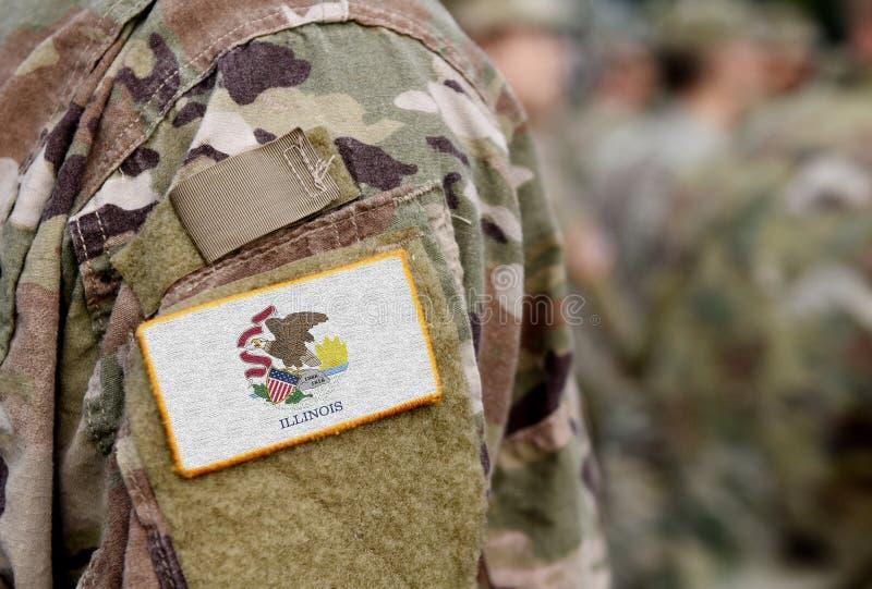 Bandiera dello Stato dell'Illinois sull'uniforme militare Stati Uniti USA, esercito, soldati Collage immagini stock libere da diritti