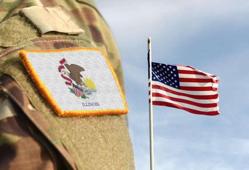 Bandiera dello Stato dell'Illinois sull'uniforme militare Stati Uniti USA, esercito, soldati Collage fotografie stock