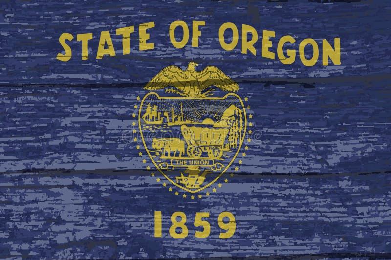 Bandiera dello stato dell'Oregon su vecchio legname illustrazione di stock