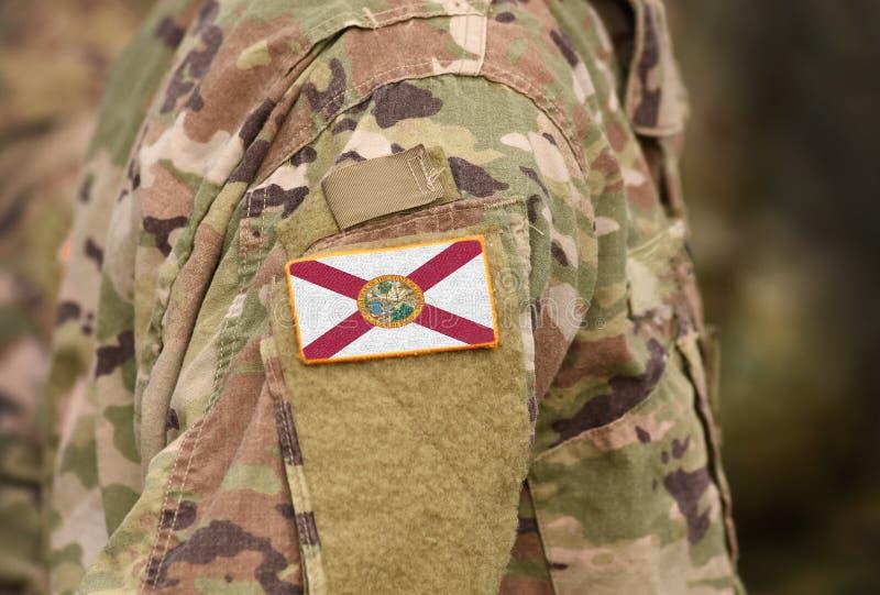 Bandiera dello Stato della Florida sull'uniforme militare Stati Uniti USA, esercito, soldati Collage fotografia stock