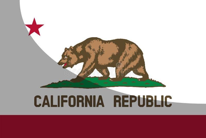 Bandiera dello stato di California con ombra illustrazione di stock