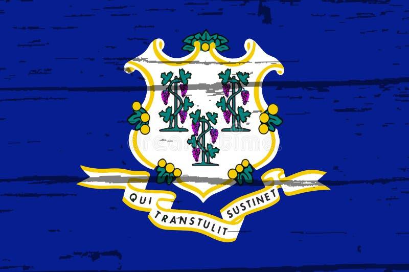 Bandiera dello stato di Connecticut su vecchio legname royalty illustrazione gratis