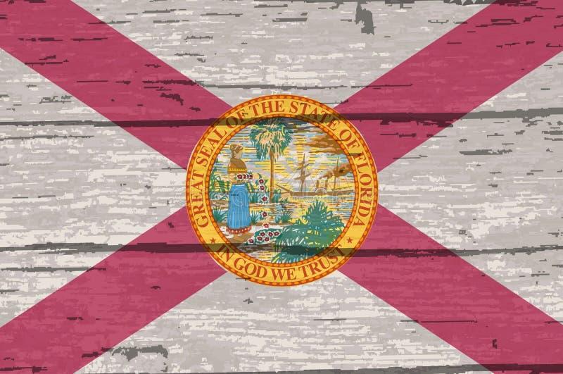 Bandiera dello stato di Florida su vecchio legname illustrazione di stock
