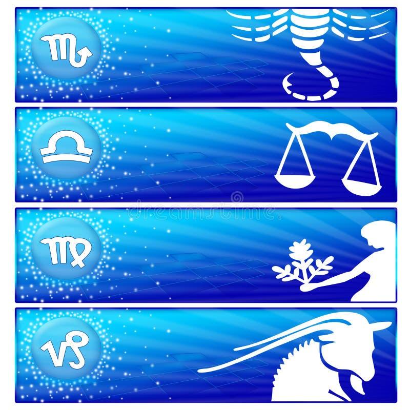 Bandiera dello zodiaco impostata (01) illustrazione di stock