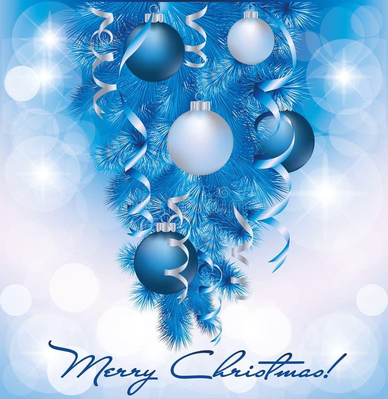 Bandiera di Buon Natale con le sfere d'argento blu illustrazione di stock