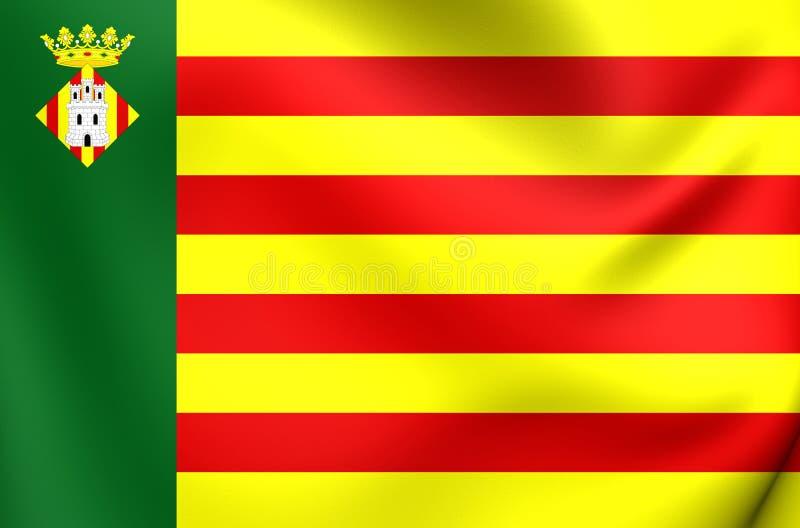 Bandiera di Castellon de la Plana City, Spagna illustrazione di stock
