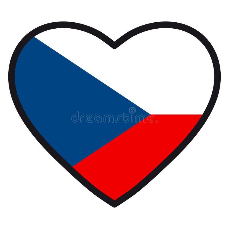 Bandiera di Ceco sotto forma di cuore con il contorno di contrapposizione, sy illustrazione di stock