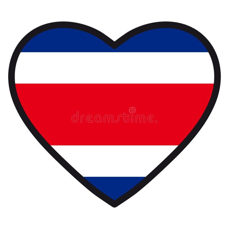 Bandiera di Costa Rica sotto forma di cuore con il contou di contrapposizione royalty illustrazione gratis