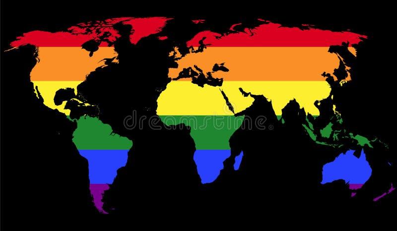 Bandiera di gay pride nella mappa di mondo illustrazione di stock