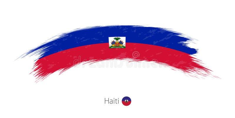 Bandiera di Haiti nel colpo arrotondato della spazzola di lerciume illustrazione di stock