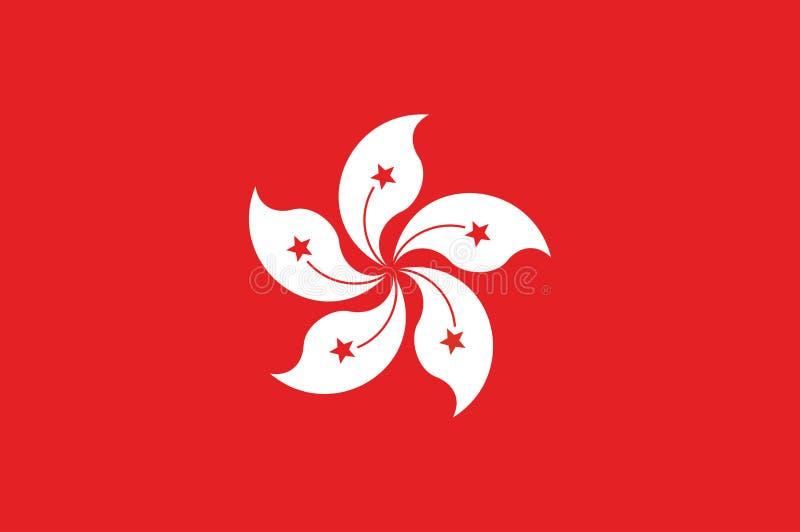 Bandiera di Hong Kong, colori ufficiali e proporzione correttamente Bandiera nazionale di Hong Kong illustrazione vettoriale