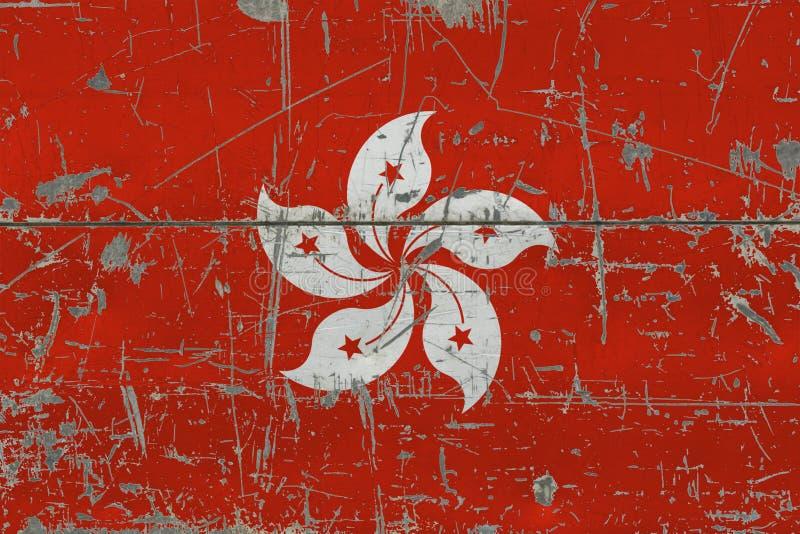 Bandiera di Hong Kong di lerciume su vecchia superficie di legno graffiata Fondo d'annata nazionale illustrazione vettoriale