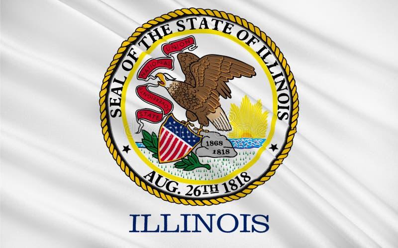Bandiera di Illinois, U.S.A. illustrazione vettoriale