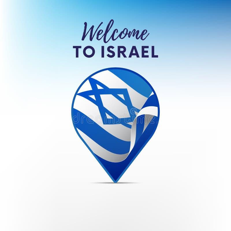Bandiera di Israele nella forma del puntatore o dell'indicatore della mappa Benvenuto nell'Israele Vettore illustrazione di stock