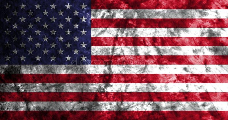 Bandiera di lerciume degli Stati Uniti d'America sulla vecchia parete sporca, bandiera americana, bandiera di U.S.A. illustrazione vettoriale