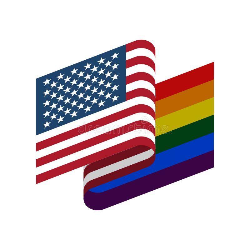 Bandiera di LGBT e di U.S.A. Simbolo dell'America tollerante Arcobaleno gay del segno illustrazione di stock