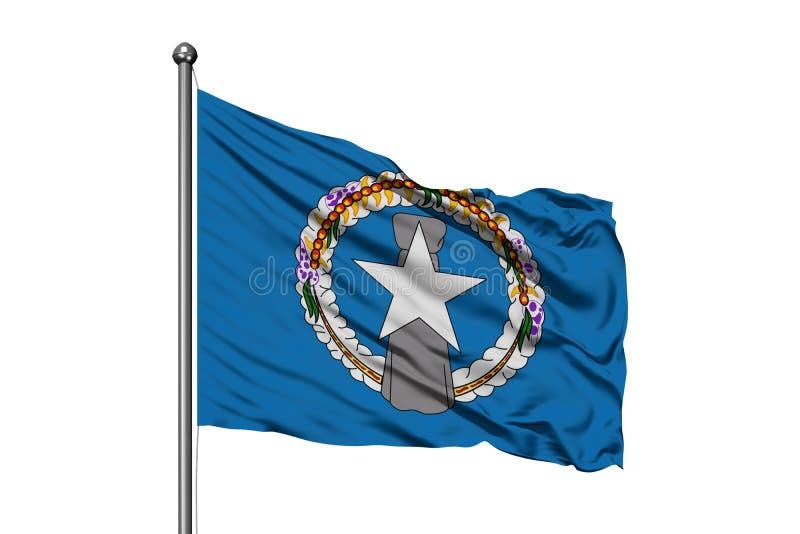 Bandiera di Mariana Islands nordica che ondeggia nel vento, fondo bianco isolato fotografia stock