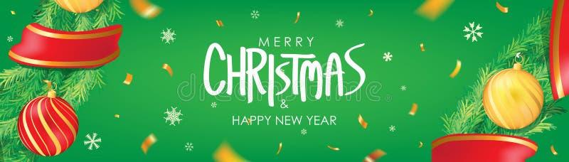 Bandiera di natale Fondo verde di Natale con le palle di natale, i fiocchi di neve ed i coriandoli dell'oro Manifesto orizzontale illustrazione di stock