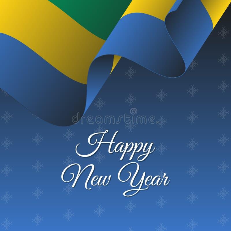 Bandiera di nuovo anno felice Bandiera d'ondeggiamento del Gabon Priorità bassa dei fiocchi di neve royalty illustrazione gratis