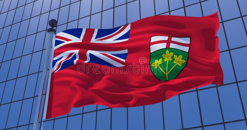 Bandiera di Ontario, Canada, sul fondo della costruzione del grattacielo illustrazione 3D fotografia stock