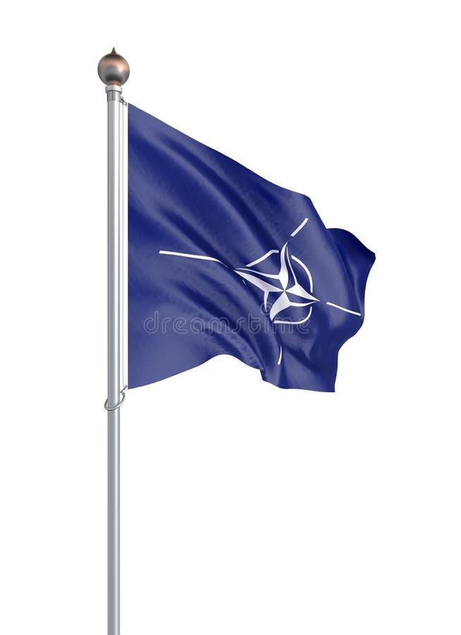 Bandiera di organizzazione del trattato del nord Atlantico Isolato sull'illustrazione bianco- 3D illustrazione di stock
