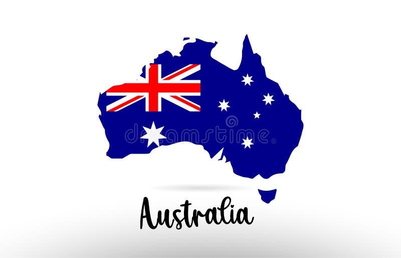 Bandiera di paese dell'Australia dentro il logo dell'icona di progettazione di contorno della mappa royalty illustrazione gratis