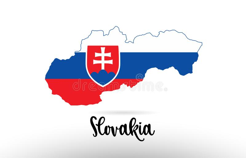 Bandiera di paese della Slovacchia dentro il logo dell'icona di progettazione di contorno della mappa illustrazione vettoriale