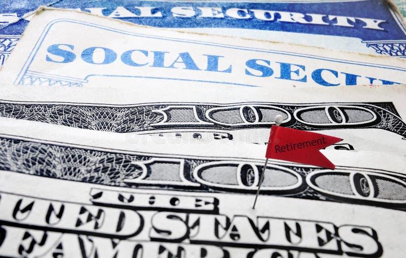 Bandiera di pensionamento di sicurezza sociale fotografia stock