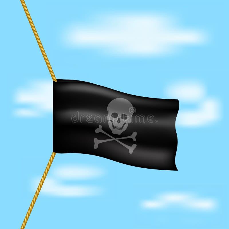 Bandiera di pirata con il simbolo del cranio che appende sulla corda su cielo blu royalty illustrazione gratis