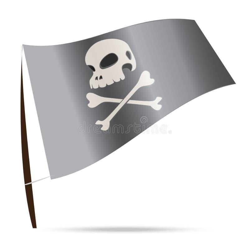 Bandiera di pirata umana del cranio  illustrazione di stock