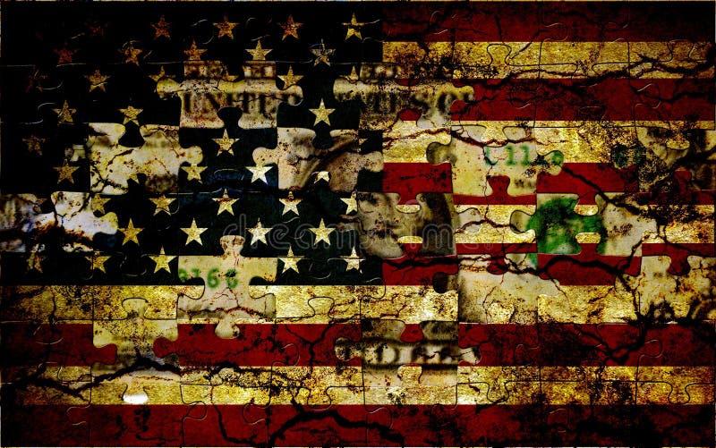Bandiera di puzzle degli S.U.A. fotografia stock
