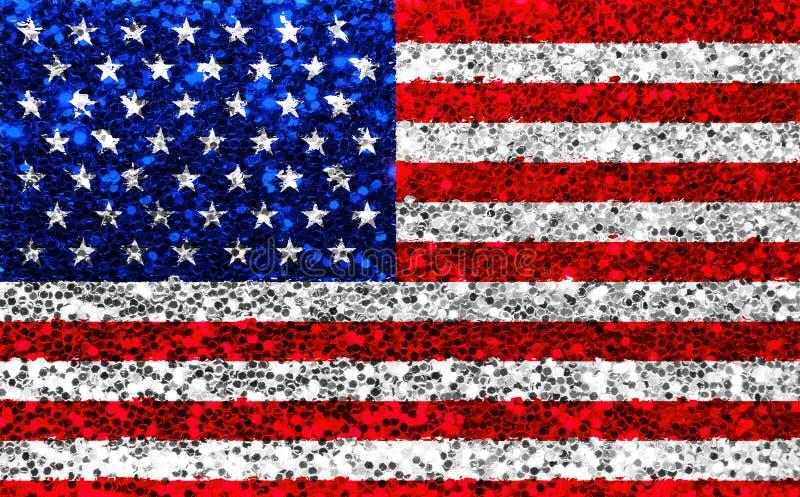 Bandiera di scintillio del tessuto di U.S.A. dell'americano, stelle e strisce della scintilla fotografia stock libera da diritti