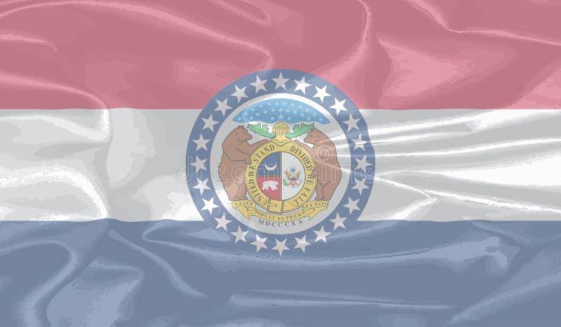 Bandiera di seta dello stato del Missouri illustrazione di stock