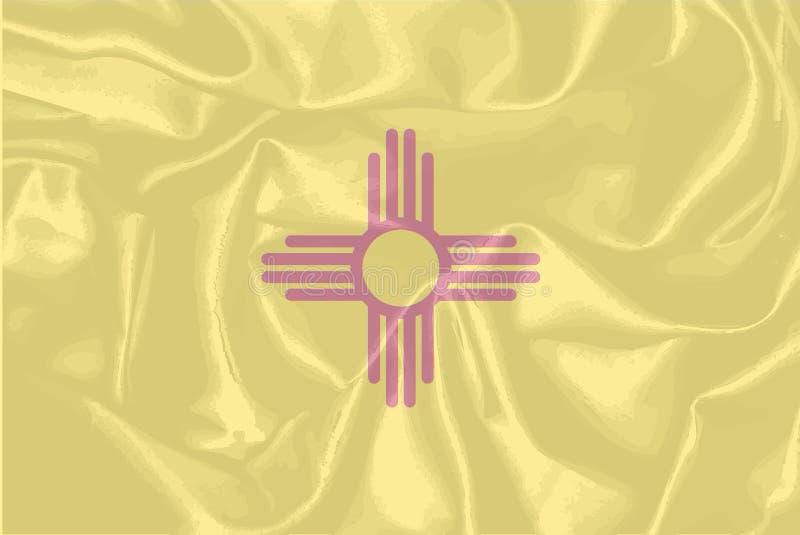 Bandiera di seta dello stato del New Mexico illustrazione di stock