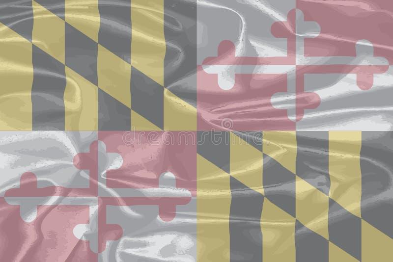 Bandiera di seta dello stato di Maryland illustrazione di stock