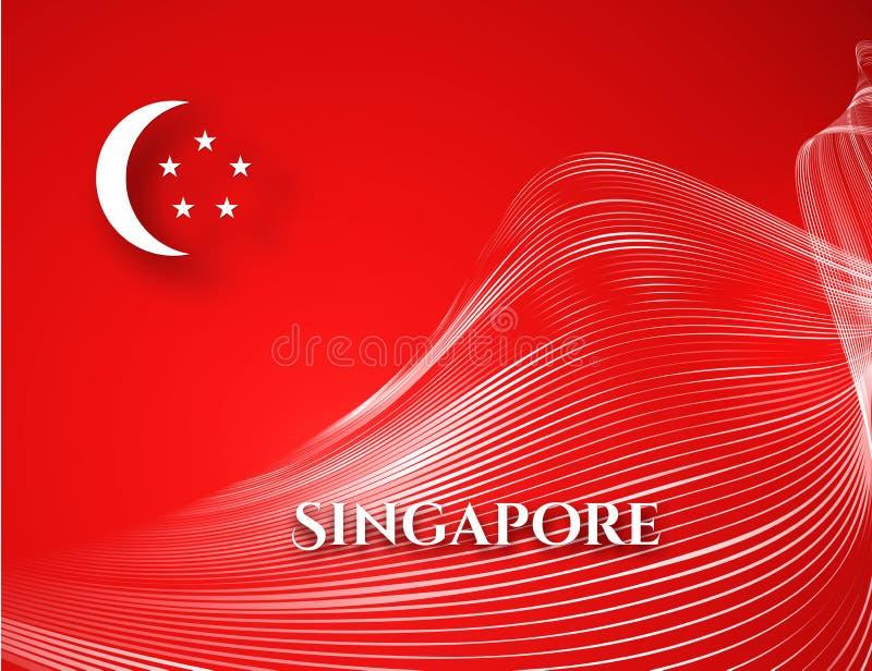 Bandiera di Singapore dell'insegna su una linea bianca fondo patriottico di forma d'onda del modello curva fondo rosso di Singapo illustrazione vettoriale