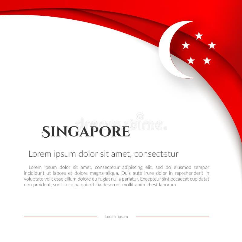 Bandiera di Singapore dell'opuscolo sulle linee rosse di un modello curve fondo bianco con il fondo patriottico di Singapore del  royalty illustrazione gratis