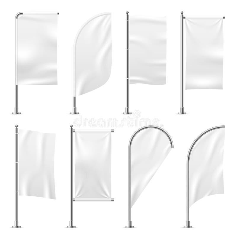 Bandiera di spiaggia Pubblicità all'aperto bianca di mostra 3d dell'esposizione di evento di promozione delle bandiere del modell illustrazione vettoriale