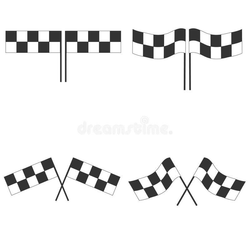 Bandiera di sport per la corsa della concorrenza Bandiere a quadretti in bianco e nero di automobilismo illustrazione di stock