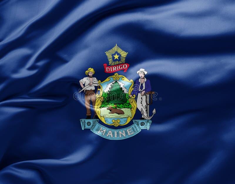 Bandiera di Stato sventolante del Maine - Stati Uniti d'America immagini stock libere da diritti