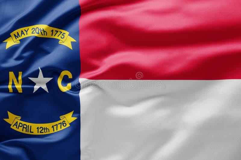 Bandiera di Stato sventolante della Carolina del Nord - Stati Uniti d'America fotografia stock libera da diritti
