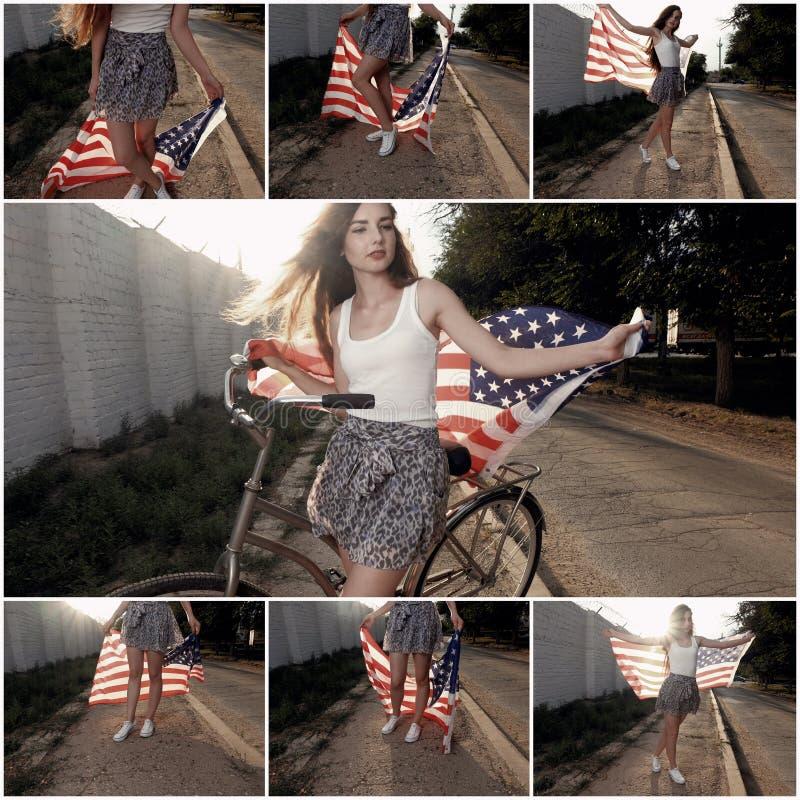 Bandiera di stelle e strisce del americam della tenuta della ragazza nel suo colore del collage all'aperto delle mani retro tonif fotografie stock
