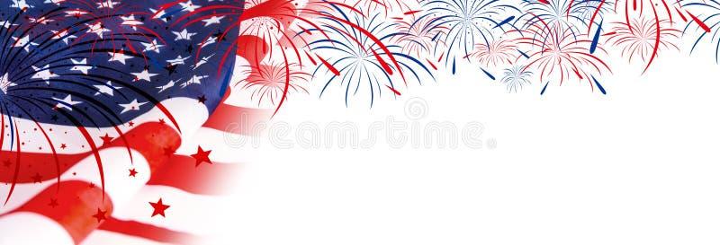 Bandiera di U.S.A. con i fuochi d'artificio immagini stock