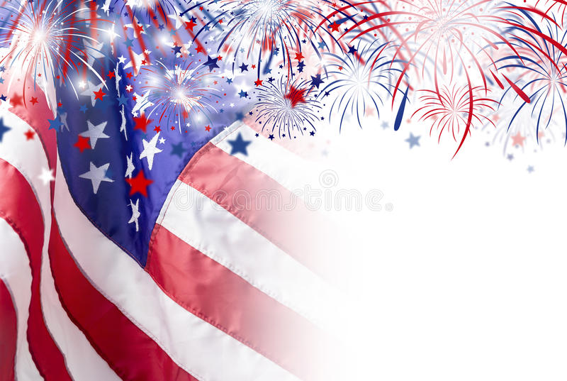 Bandiera di U.S.A. con il fondo del fuoco d'artificio per la festa dell'indipendenza del 4 luglio immagini stock