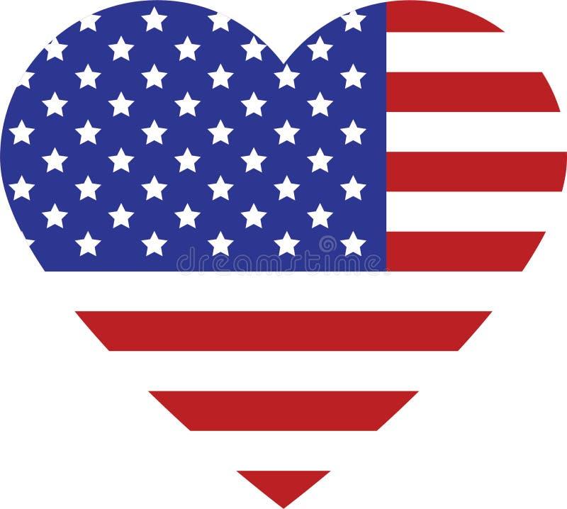 Bandiera di U.S.A. nel cuore fotografia stock libera da diritti